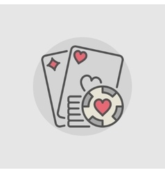 Playing cards and casino chips icon vector image vector image
