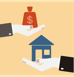 real estate concept hands with house and money vector image
