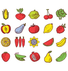 Vegetables and fruits icons set vector
