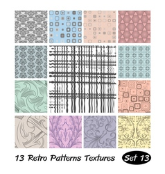 13 Retro Patterns Textures Set 13 vector image