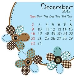 2012 december calendar vector image vector image