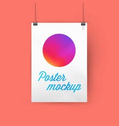 A4 a3 or a2 size ratio poster mockup hanging vector