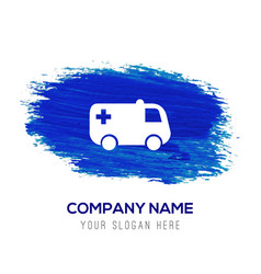 ambulance icon - blue watercolor background vector image