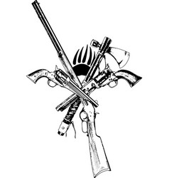 Ancient weapons of the wild west drawn with ink vector