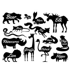 Animals for baby silhouettes isolated wild vector