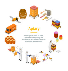 Apiary concept banner card circle 3d isometric vector