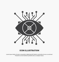 ar augmentation cyber eye lens icon glyph gray vector image