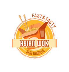 Asian noodles or chinese wok cuisine icon vector