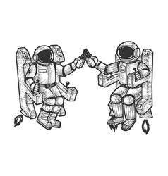 astronauts drink beer sketch vector image
