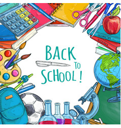 back to school sketch statonery poster vector image