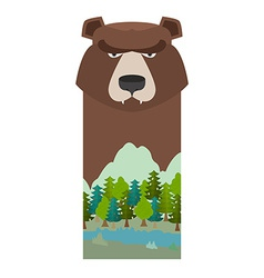 Bear Head grizzly bear Template for reserve and vector