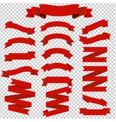 big set red ribbons vector image