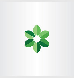 bio leaves circle logo green icon symbol vector image