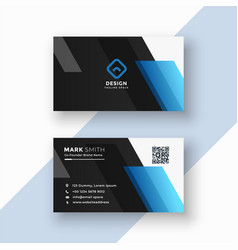 black and blue business card design vector image