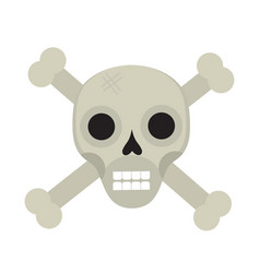 bones and skull icon flat style isolated on white vector image