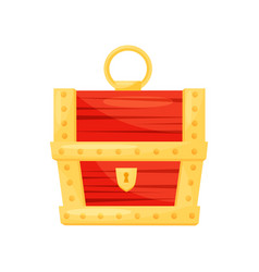 Bright red wooden chest with golden stripes vector