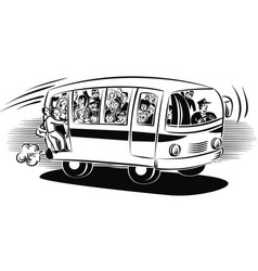 Bus overloaded with passengers traveling vector
