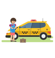 Business woman calls a taxi by phone vector