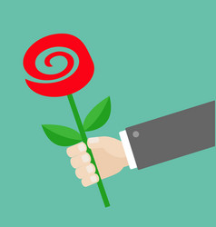 businessman hand holding red rose flower giving vector image