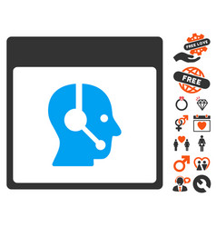 call center operator calendar page icon with vector image