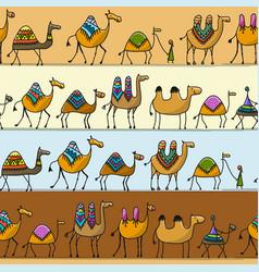 camels caravan seamless pattern for your design vector image