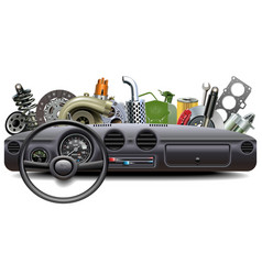 Car dashboard with spare parts vector