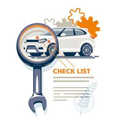 car diagnostics magnifie key checklist vector image