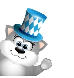 cartoon funny gray cat in a bavarian hat card vector image