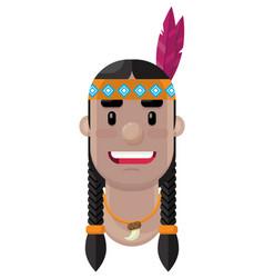 cartoon native american flat icon vector image