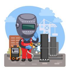 cartoon welder at a construction site vector image
