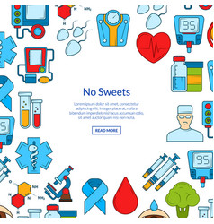Colored diabetes icons with place for text vector