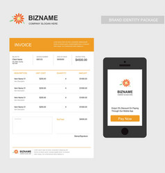 Company invoice with mobile app design also with vector