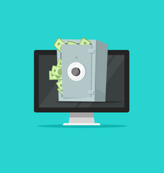 Computer with safe box full of paper money vector