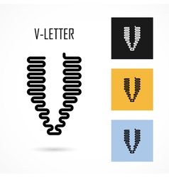 Creative V - letter icon abstract logo design vector image
