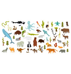 Cute animal icon set isolated vector