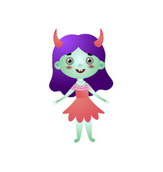 cute girl character in devil costume and red dress vector image