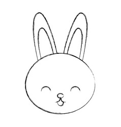 cute sketch draw rabbit cartoon vector image