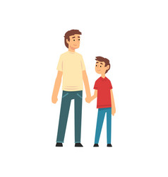 Dad and son holding hands father and his child vector