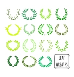 Decorative floral set of 15 wreaths vector