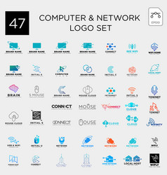digital computer network technology set logo vector image