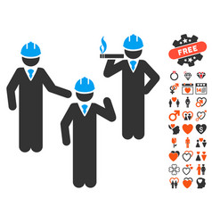 Engineer persons discussion icon with dating bonus vector
