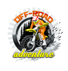 Extreme red off road motorbike adventure vector