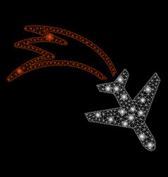 Flare mesh carcass falling airplane with flare vector