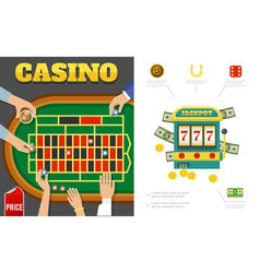 Flat casino and gambling concept vector