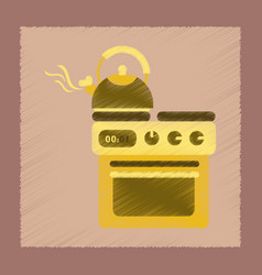 Flat shading style icon coffee kettle on stove vector