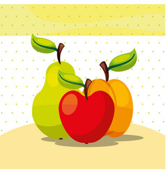 fruits fresh organic healthy apple peach pear vector image