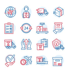 global parcel delivery icon set outline style vector image