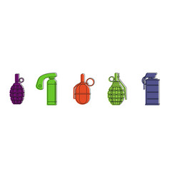 grenade icon set color outline style vector image