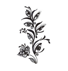Hand drawn flower with eyes isolated on white vector