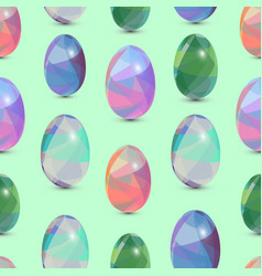 happy easter seamless background 3d eggs with the vector image